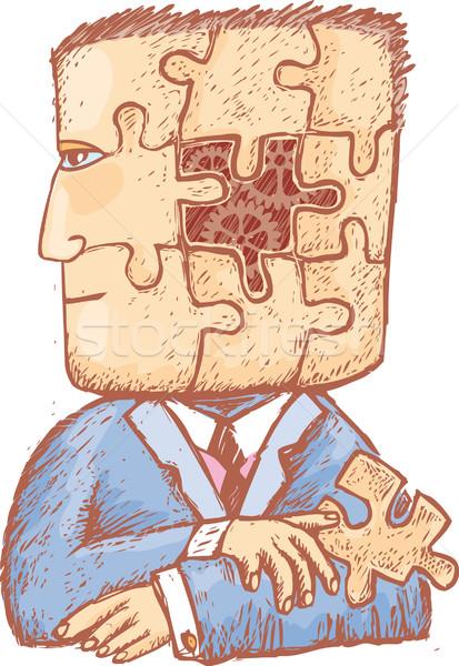 Zdjęcia stock: Puzzle · mój · głowie · człowiek · kawałek · strony