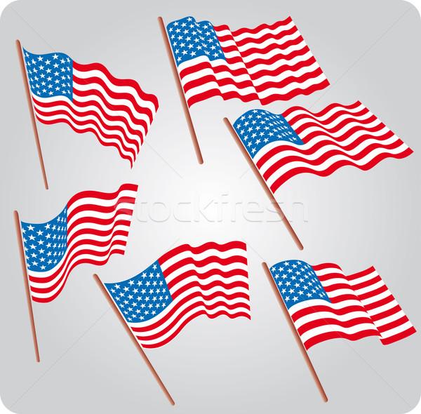 6 米国 フラグ セット ストックフォト © bonathos