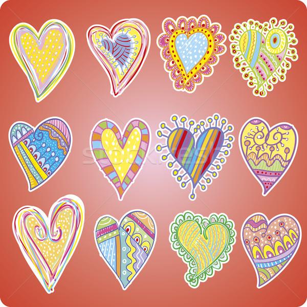 Doze corações rabisco projetos útil Foto stock © bonathos