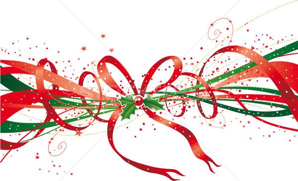 クリスマス リボン 抽象的な 星 弓 背景 ストックフォト © bonathos
