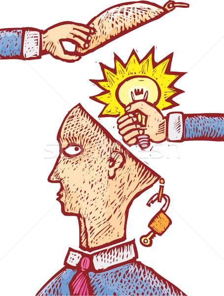 Gestolen idee twee handen menselijke hoofd Stockfoto © bonathos