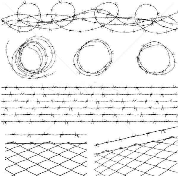 有刺鉄線 要素 フェンス シームレス モジュール 別 ストックフォト © bonathos