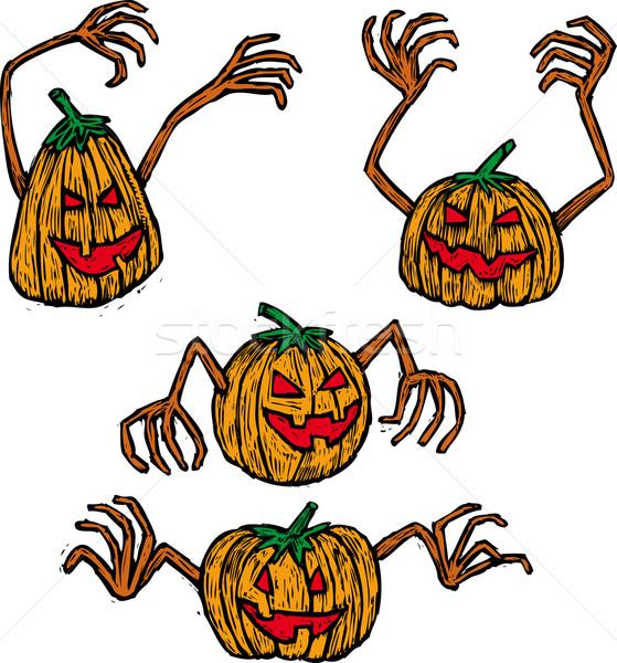 Quatro abóboras halloween estilo cores separado Foto stock © bonathos