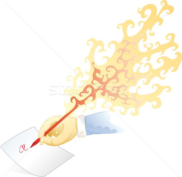 огня пер человеческая рука Дать креативность писателя Сток-фото © bonathos