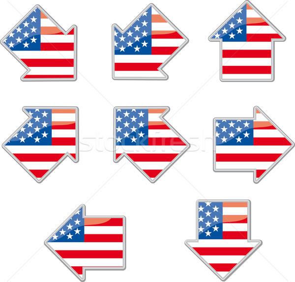 USA flag arrow placards  Stock photo © bonathos