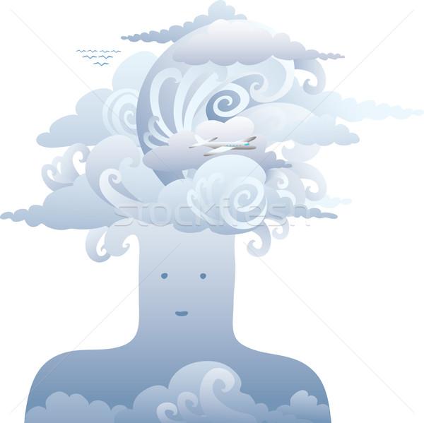 Luft Kopf groß Wolken ein natürlichen Stock foto © bonathos