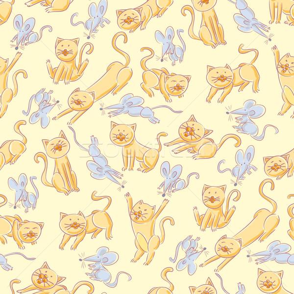 Sem costura gatos ratos padrão ficar juntos Foto stock © bonathos