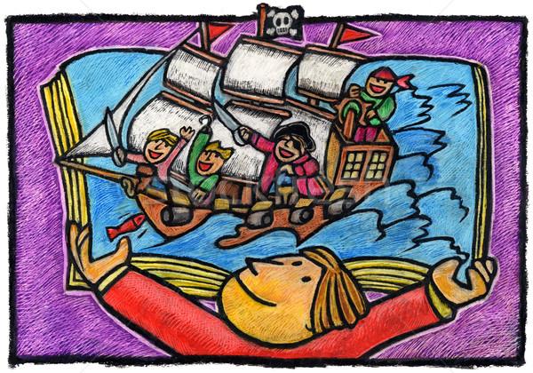 海賊版 少年 ホールド 開いた本 海賊 船 ストックフォト © bonathos