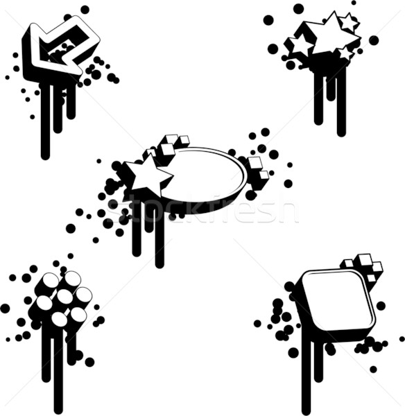 Geométrico projeto elementos conjunto cinco preto e branco Foto stock © bonathos