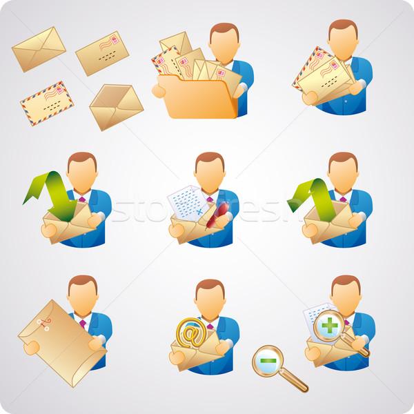 Mail gebruikers ingesteld e-mail goede webdesign Stockfoto © bonathos