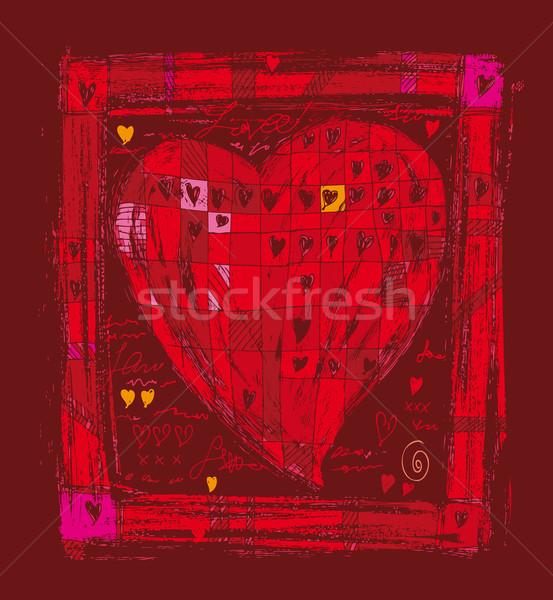 Grande coração fechar vermelho adorar desenhar Foto stock © bonathos
