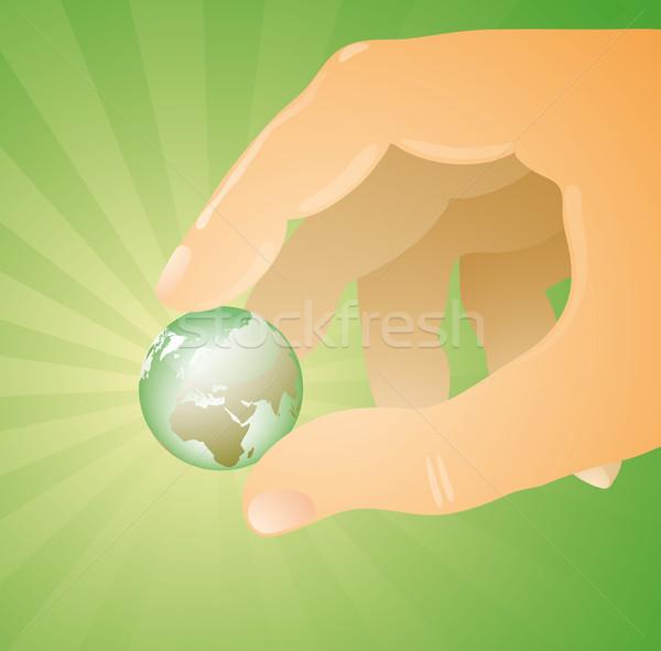 Világ enyém ujjak Európa kilátás kicsi Stock fotó © bonathos