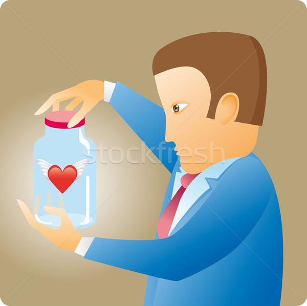 сердце бутылку деловой человек внутри карьеру Сток-фото © bonathos