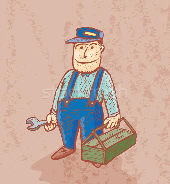 хорошие водопроводчика Cartoon инструментом Сток-фото © bonathos