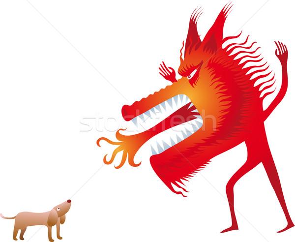 赤 オオカミ ビッグ 人間 ストックフォト © bonathos