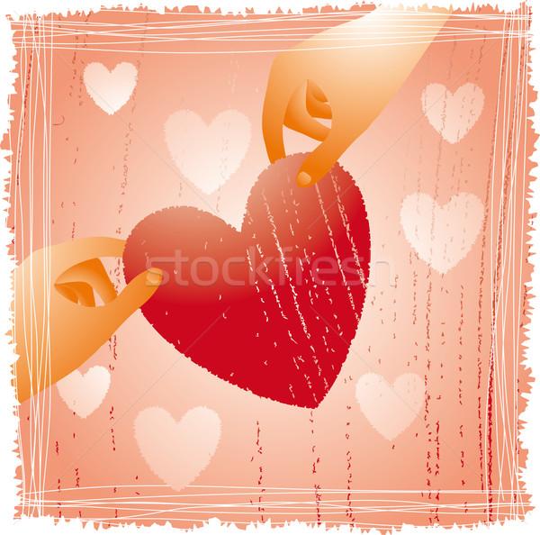 Herz Design zwei Hände halten fragile Stock foto © bonathos