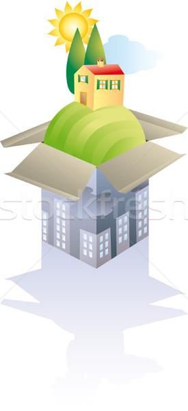 Menekülés város doboz tipikus Toszkána tájkép Stock fotó © bonathos