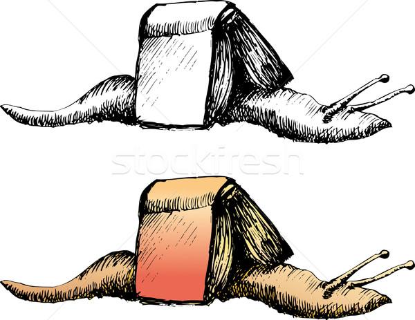 カタツムリ 図書 開いた本 ストックフォト © bonathos