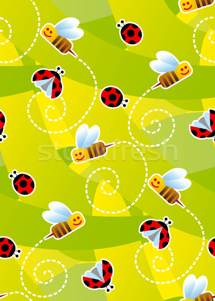 Bees and ladybugs seamless pattern  Stock photo © bonathos