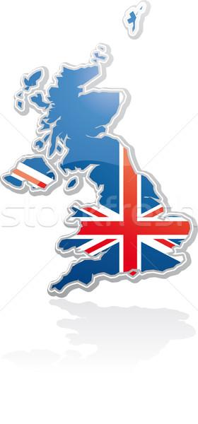 Cartel mapa bandera dentro forma fuente Foto stock © bonathos
