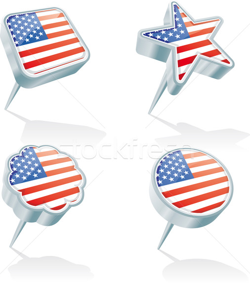 Vier USA Metall 3D unterschiedlich Formen Stock foto © bonathos