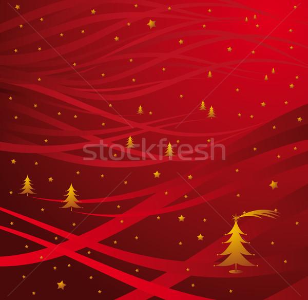 Рождества аннотация красный рождественская елка звезды пейзаж Сток-фото © bonathos