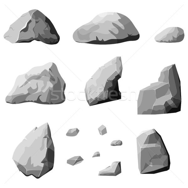 gray stones set Stock photo © BoogieMan