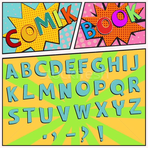 шрифт красочный Поп-арт ретро-стиле вектора Сток-фото © BoogieMan
