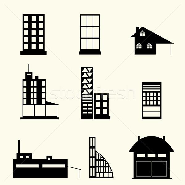 набор зданий икона дизайна вектора бизнеса Сток-фото © BoogieMan
