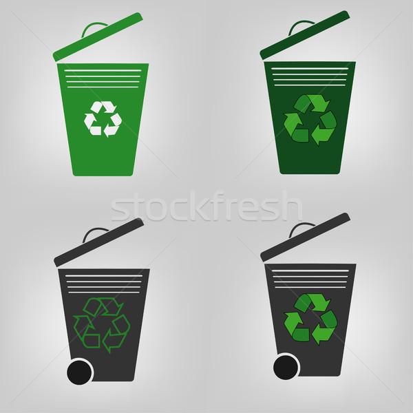 Recycle набор четыре мусорный ящик вектора Сток-фото © BoogieMan