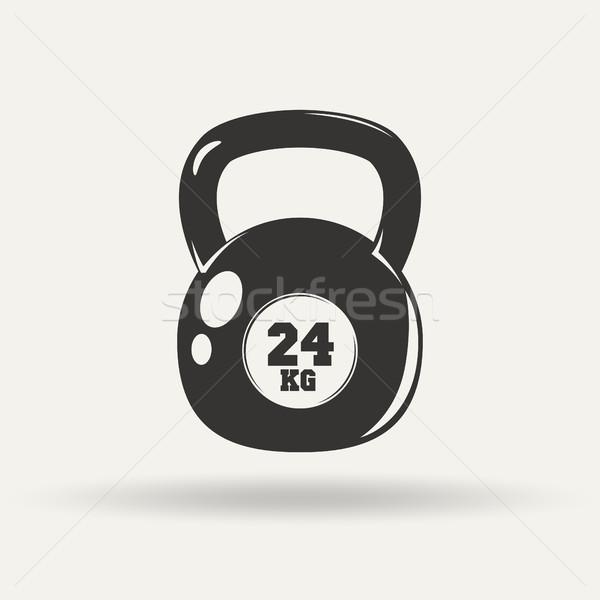 монохромный фитнес икона гири стиль белый Сток-фото © BoogieMan
