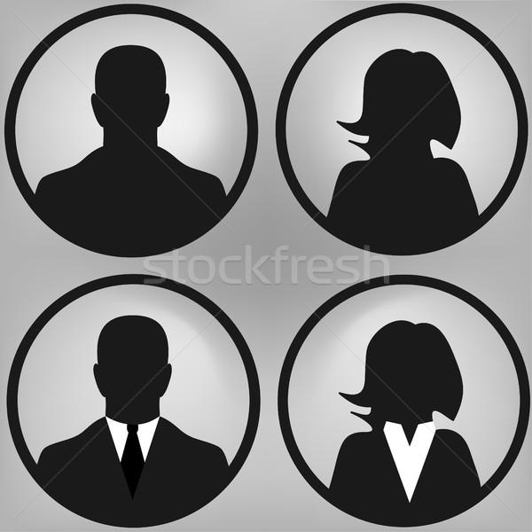 Foto d'archivio: Utente · uomini · donne · silhouette · vettore
