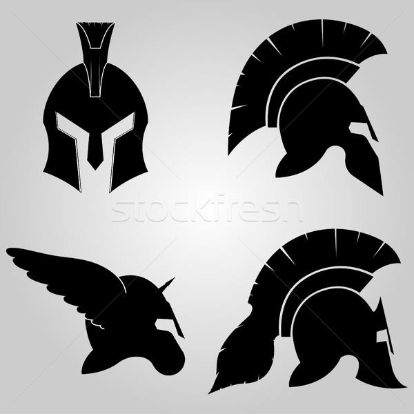 Helme Set spartanisch voll Gesicht Profil Stock foto © BoogieMan