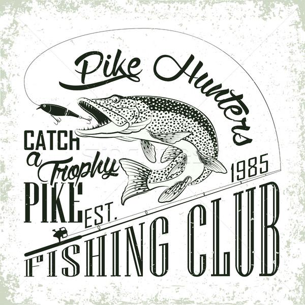 рубашку печать дизайна рыбалки клуба эмблема Сток-фото © BoogieMan
