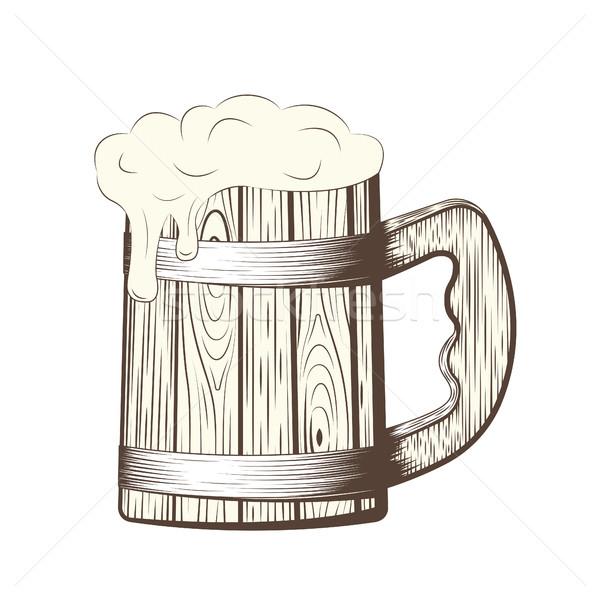 Cerveja caneca espuma linha arte Foto stock © BoogieMan