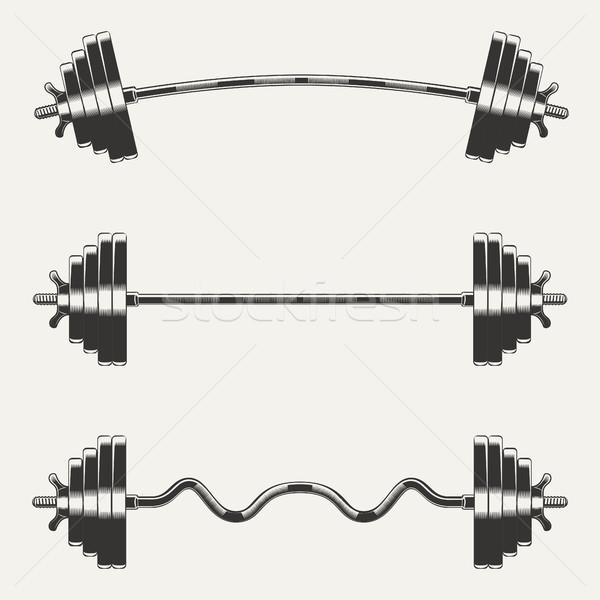 Сток-фото: фитнес · монохромный · стиль · белый · вектора