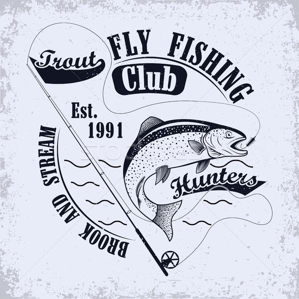 Сток-фото: рубашку · печать · дизайна · рыбалки · клуба · эмблема