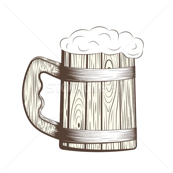 Bois bière mug mousse ligne art Photo stock © BoogieMan