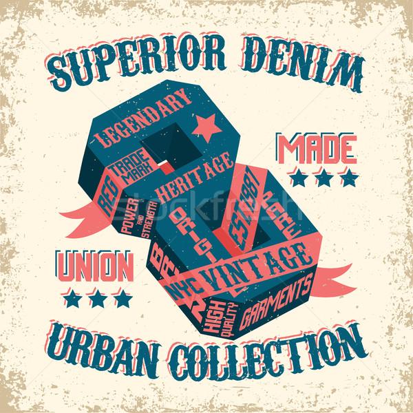 Denim tipografia stampa vintage grunge tshirt Foto d'archivio © BoogieMan