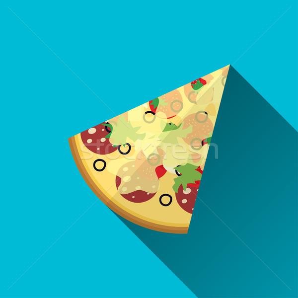 кусок пиццы дизайна знак икона долго Сток-фото © BoogieMan