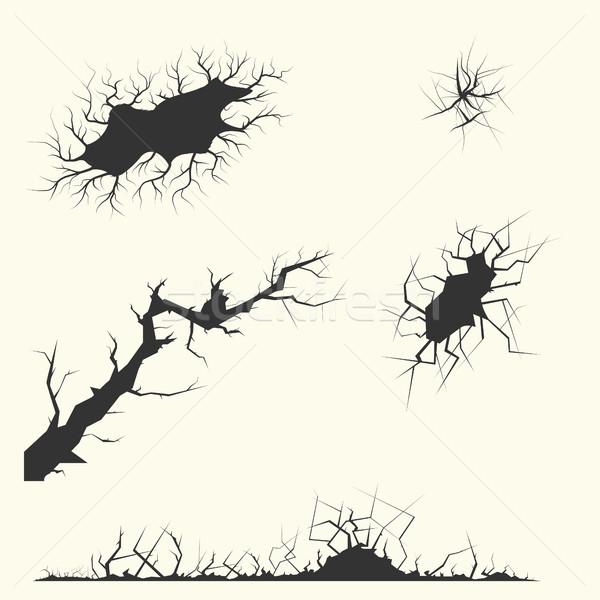 Különböző repedések szett textúra fal terv Stock fotó © BoogieMan
