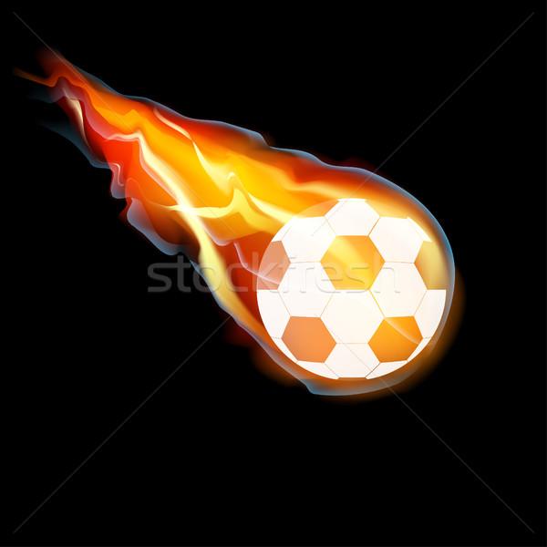 футбольным мячом огня Flying футбола черный вектора Сток-фото © BoogieMan