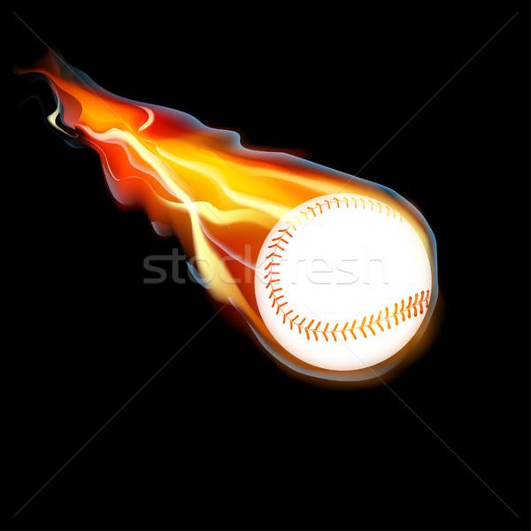 Stock fotó: Baseball · tűz · repülés · fekete · vektor · háttér