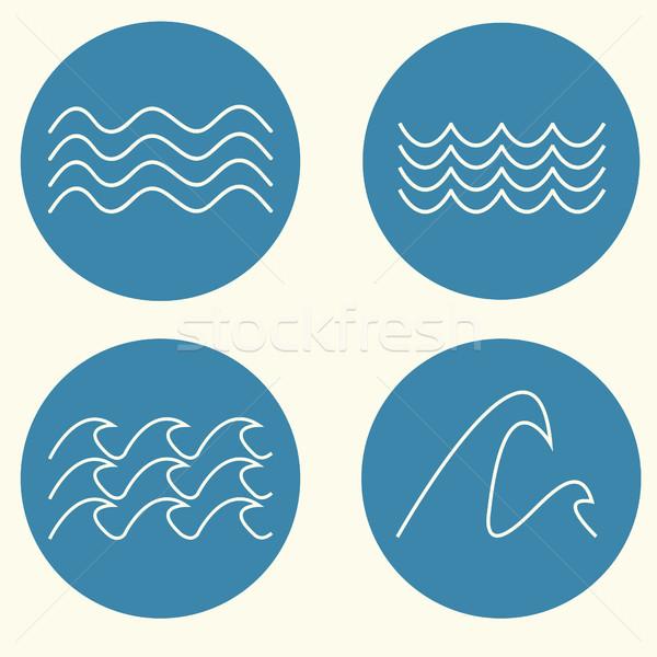 Hullám ikon gyűjtemény ikon szett vonal terv kék Stock fotó © BoogieMan