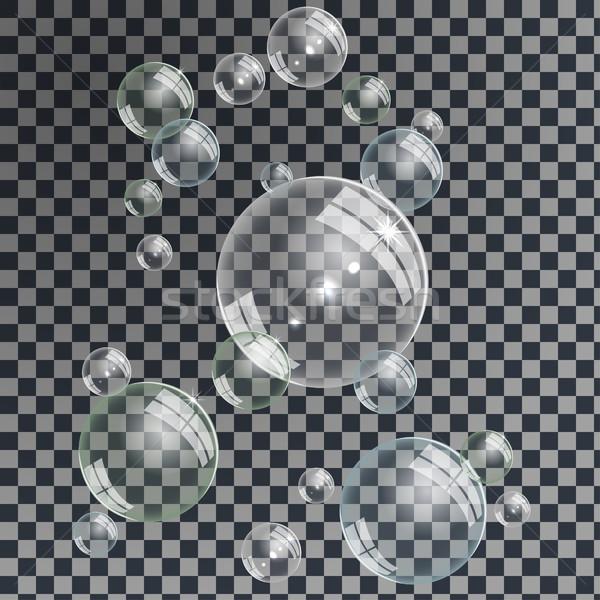Stock fotó: Víz · buborékok · szett · gyengéd · vízalatti · szappanbuborékok