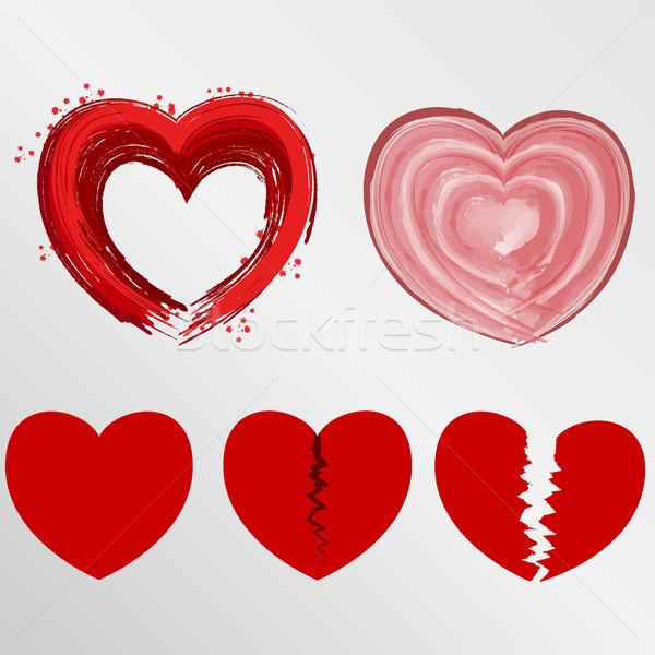 Foto stock: Establecer · corazones · cepillo · acuarela · roto · vector