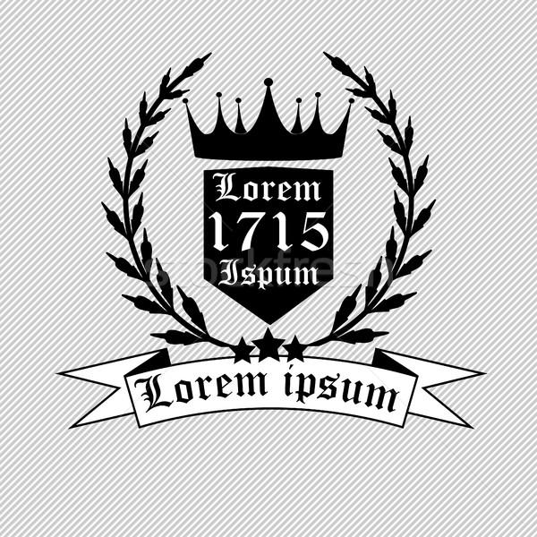Super Coroa · emblema · preto · e · branco · logotipo · laurel · coroa  LN56