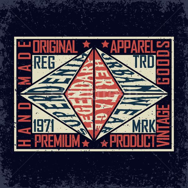Сток-фото: джинсовой · печать · Vintage · типографики · Гранж · футболки