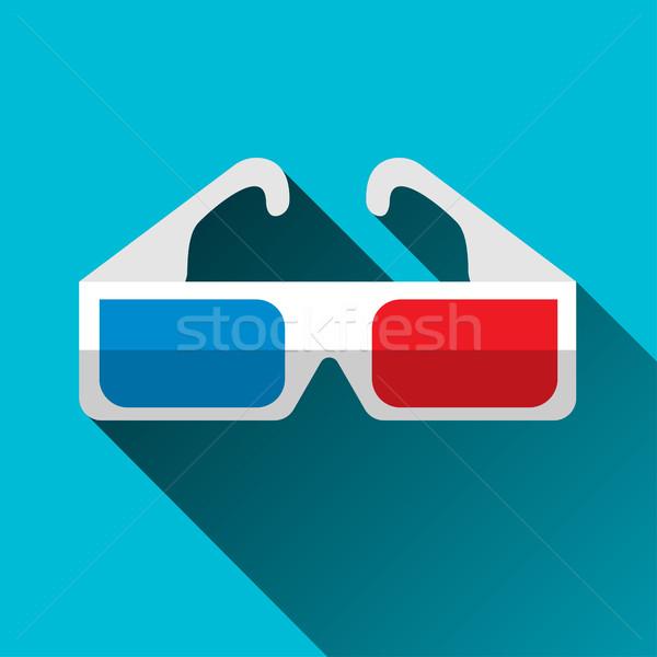 Stock fotó: 3d · szemüveg · terv · ikon · hosszú · árnyék · vektor
