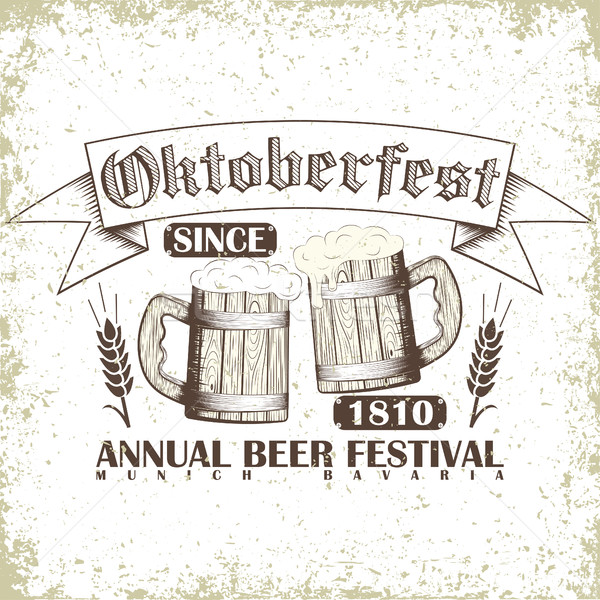 пива фестиваля эмблема Октоберфест печать штампа Сток-фото © BoogieMan